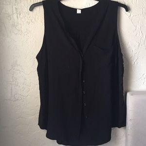 Black Sleeveless Button Down